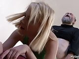 Bearded old man punish son's blonde GF