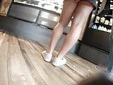 Blonde upskirt in miniskirt