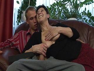 Lingerie Granny Dildo video: Young neighbor fucks grandma
