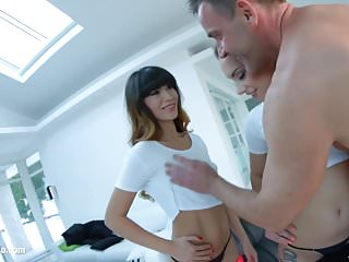 Jenny Glam and Mona Kim threesome anal scene by Ass Traffic