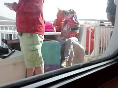 Japanese upskirt in a Greek ferry