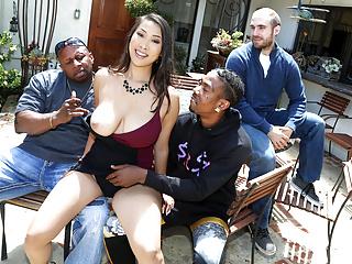 Asian Cuckold Big Cock video: Busty Asian Sharon Lee Fucks Her Cuckold Husband's Pals