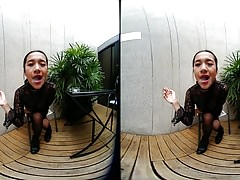 VRpussyVision.com - Young girl smokes topless and in leather