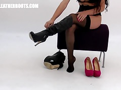 Busty brunette milf in panties nylons puts on leather boots