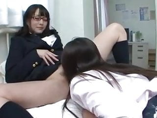 Asian Japanese Foot Fetish vid: Asian Lesbian Schoolgirl Pussy Casts Spell on Teacher