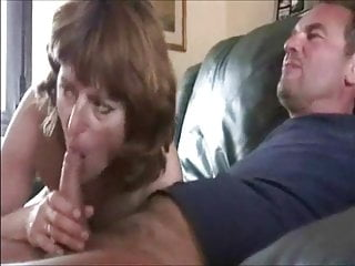 British Femdom Threesome video: Mature cuck couple with cleanup