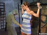 Dominated babe orgasms while bound