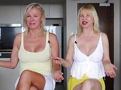 twee volwassen dame upskirt tepels en gekruiste benen een video 4