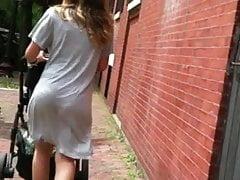 Jiggly Bubble Butt Milf Grey Skirt VPL