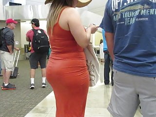 Blonde Big Ass Wife video: Just Married fat booty bride in a dress at airport Pt 2