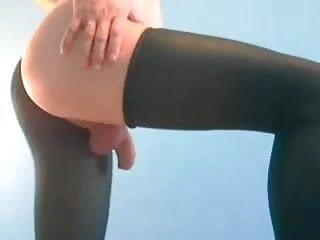 Femboy Jerks and plays in pantyhose part 2