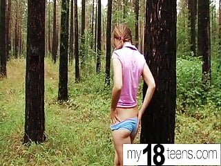 Public Nudity Fingering Outdoor video: MY18TEENS - Teen Fingering Pussy and Orgasm Closeup in wood