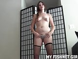 Imagine my feet in fishnets rubbing your hard cock JOI