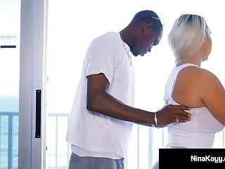 Blondes Interracial Big Tits vid: Big Black Cock Dives Down Nina Kayy's Throat & In Her Pussy!