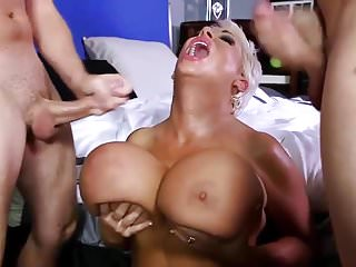 Bbw Big Tits Cougars video: bimbo mature loves to fuck two young cocks