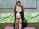 bbw wife striping and rubing babyoil on her body