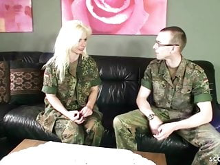 Hairy Hardcore Teen video: ARMY MILF with Hairy Pussy Fucks Young Boy Soldier - German