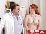Chubby Euro redhead Samatha tricked by old gyno doctor