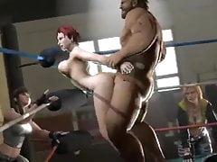 Rude włosy 3D zostają wyruchane w ringu bokserskim