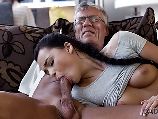 Blowjob Brunette Handjob video: DADDY4K. Old man satisfied sexual needs of his sons gf