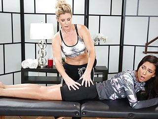 Pornstar Milf Lesbian video: Petite cylist has tension in her butt