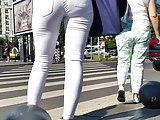 Spy white jeans sexy ass woman romanian