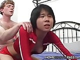 Flat chested oriental babe pussy smashed and facialized