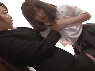 Japanese Strapon Teacher video: Lesbian Monica and Lucinta