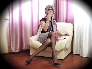 Lingerie Shemale Hd Videos Solo Shemale vid: ms.Stella Smoking and Posing