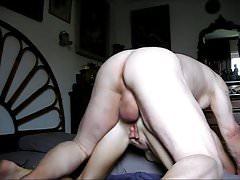 Grandpa unloads his huge balls in grandma's ass