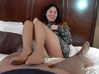Foot Fetish Footjob Pantyhose video: Why are you wearing my Mother's Pantyhose