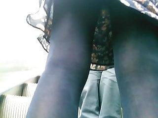 Stockings Hidden Cams Pantyhose video: Upskirt on escalator 28