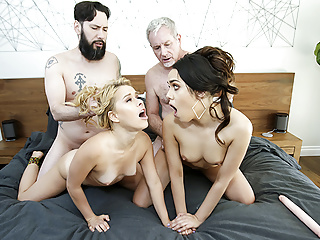 Hardcore Small Tits Big Cock video: daughterSwap - Horny Teens Get Taught a Lesson By dad Cock