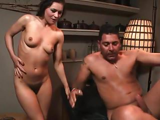 .Hot Brunette Girl gets licked and fucked by tattood guy.