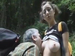 Grandpa seduces his friend in the forest