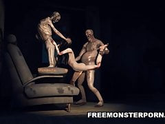 Infected 3D Babe Double Teamed przez Zombie
