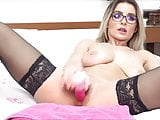 blond play with dildo in nylon stocking