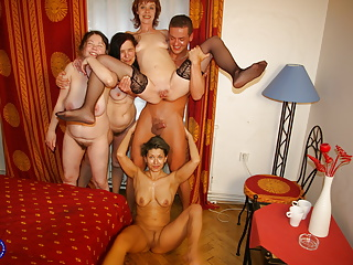 Gangbang Mature Granny video: FOUR mothers having fun with lucky son
