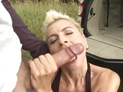 Wild amateur MILF gets big cock in the car