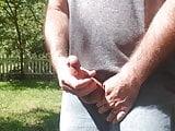 Massive Cum shot. Jerk off in backyard. Thick ropes