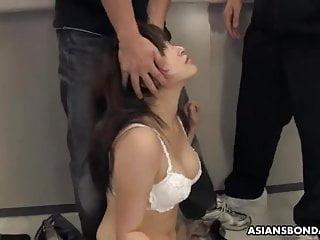 Hairy Asian Japanese video: Yukina Mori sucks many dicks on her first working day
