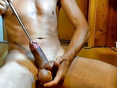 naked slave sounding cumshot peehole dilator
