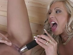 Eve Angel and Adriana Russo have hot sex in a sauna