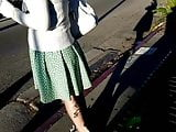Quick nice ass white gal upskirt at the bus stop