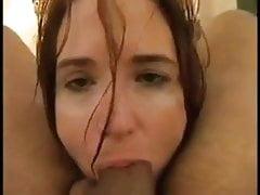 girl deepthroats big cock and licks ass, hot