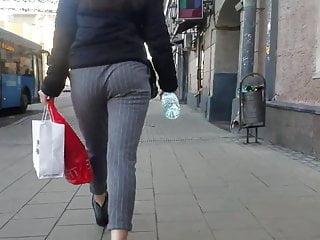 Nice ass is walking down the street