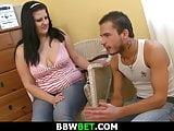 Big boobs plumper rides his horny cock