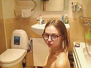 College Babe Giving Head in the Bathroom