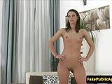 Smalltitted babe pussyfucked on casting couch