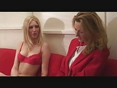 British & French Lesbians with Double-Ended Dildo